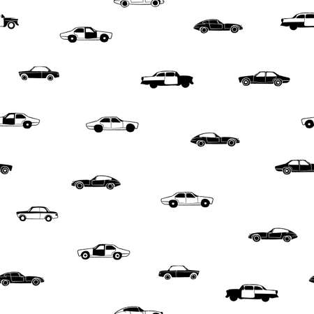 Vector black white vintage cars seamless pattern