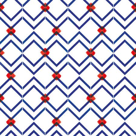 Vector blue zigzag lines red karo seamless pattern Stock fotó