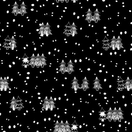 Vector black white snow, trees seamless pattern Illusztráció