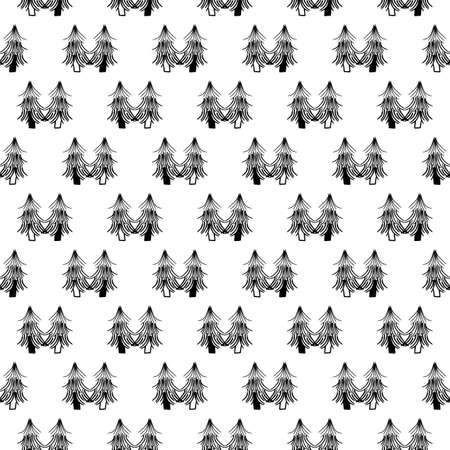 Vector black white Christmas tree seamless pattern