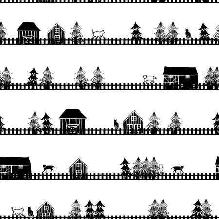 Vector black white cottages trees seamless pattern Stock fotó - 159457944