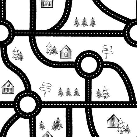 Vector black white roads houses seamless pattern
