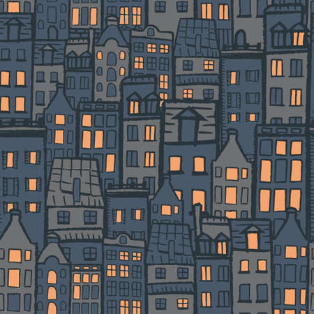 Vector orange grey blue city dark seamless pattern