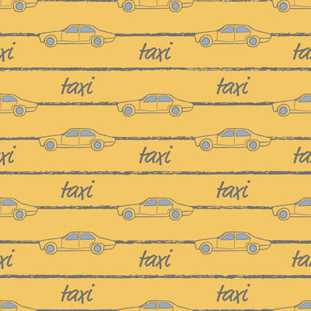 Vector yellow striped taxi cars seamless pattern