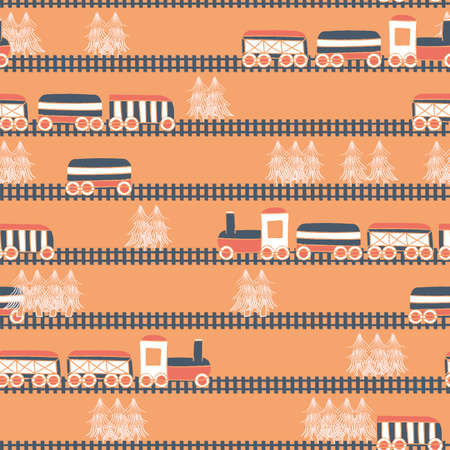 Vector hand drawn orange white dark blue trains, wagons and trees seamless pattern. Surface pattern design. Great for fabric, wallpapers, custom childish projects. Illusztráció