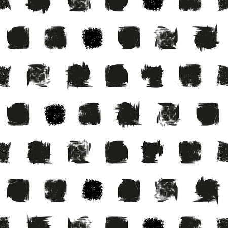Vector hand drawn painted white black dots, stains, ink squares seamless pattern background print. Great for fabric, packaging, home decor, custom projects.