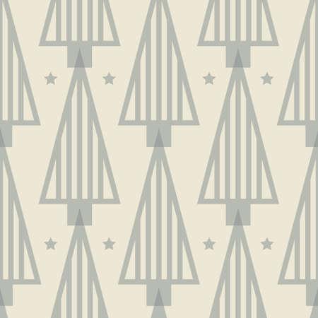 Vector grey ecru Christmas tree seamless pattern