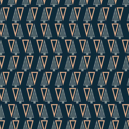 Vector grey blue Christmas trees seamless pattern