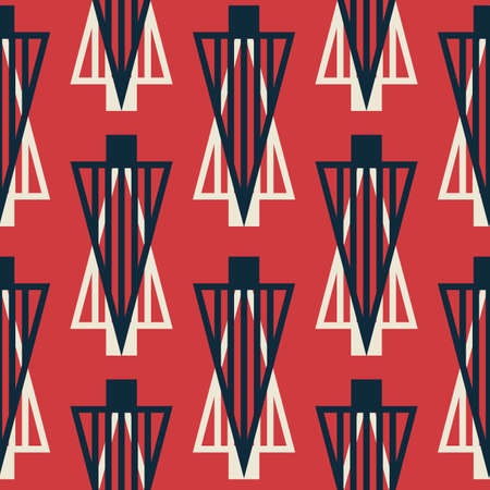 Vector white red Christmas trees seamless pattern