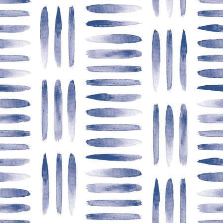 Vector blue painted stripes white seamless pattern Illusztráció