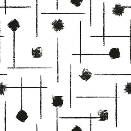 Vector black blots lines white seamless pattern