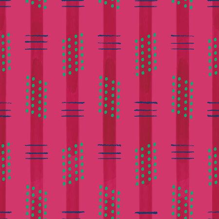 Vector painted pink green stripes seamless pattern Illusztráció