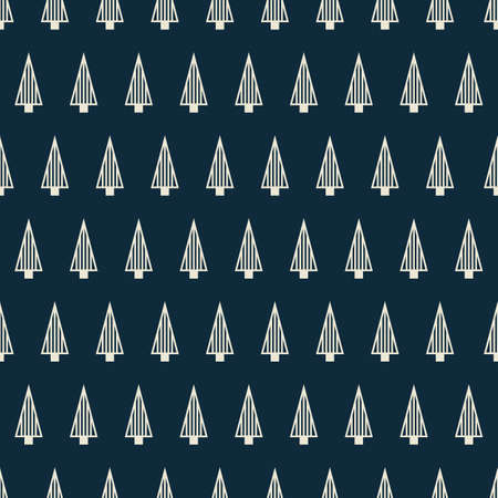 Vector white blue Christmas trees seamless pattern