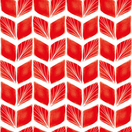 Vector red striped leaves white seamless pattern