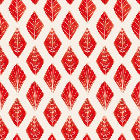 Vector red rhombus leaves ecru seamless pattern