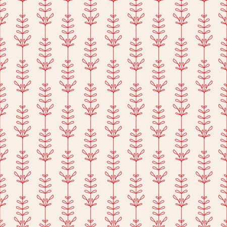 Vector red flowers leaves ecru seamless pattern Illusztráció