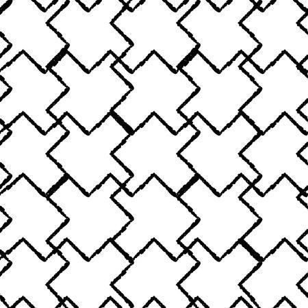 Vector black white grid, puzzles seamless pattern Illusztráció