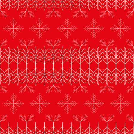 Vector red white lace, snowflakes seamless pattern