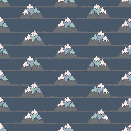 Vector grey dark blue mountain seamless pattern