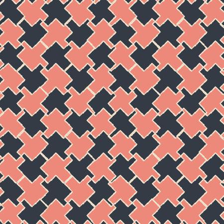 Vector black pink puzzles, grid seamless pattern Illusztráció