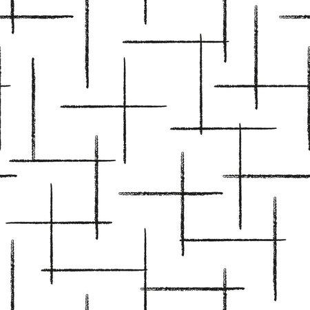 Vector black pencil lines white seamless pattern Illusztráció