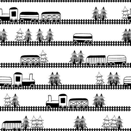 Vector black white trains trees seamless pattern Illusztráció