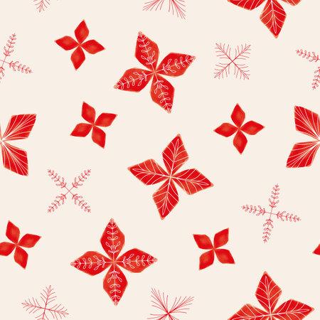 Vector red flower poinsettia ecru seamless pattern