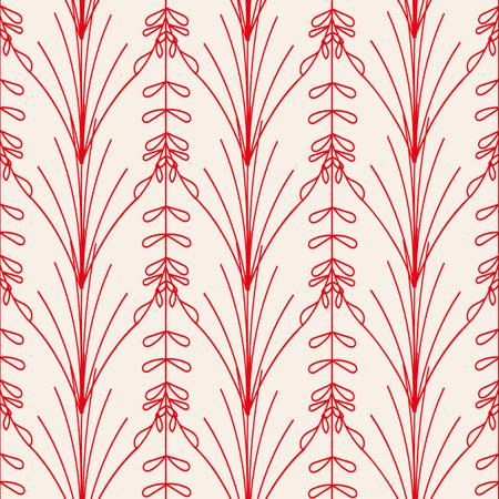 Vector red flowers plants ecru seamless pattern