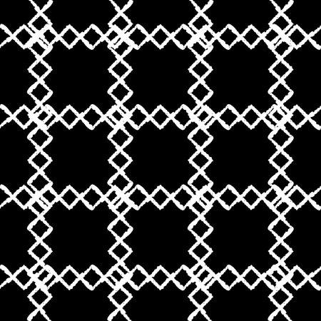 Vector white grid rhombus black seamless pattern Illusztráció
