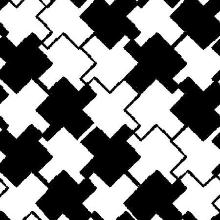 Vector black white puzzles, grid seamless pattern Illusztráció