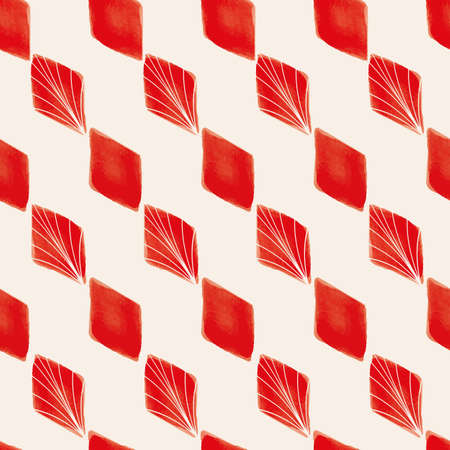 Vector red geometric shapes white seamless pattern