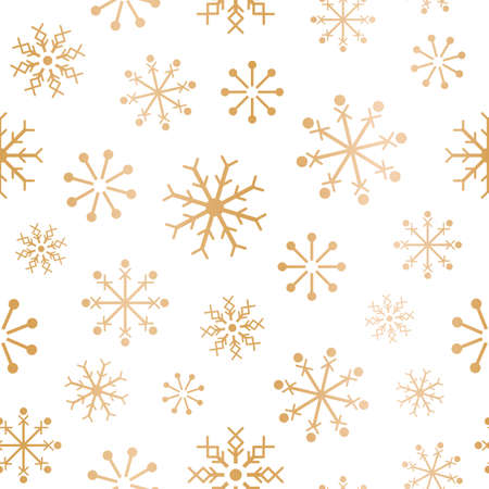 Vector gold white snowflakes seamless pattern