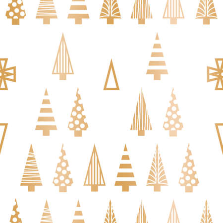 Vector white gold Christmas trees seamless pattern