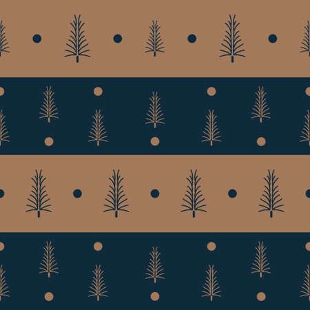 Vector brown blue Christmas trees seamless pattern Illusztráció