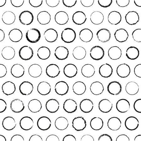 Vector drawn black circles white seamless pattern