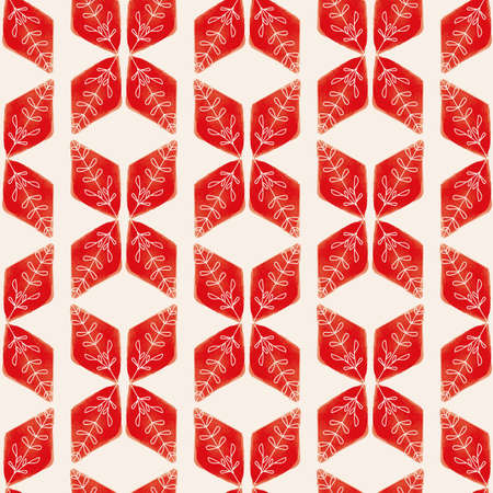 Vector red geometric leaves white seamless pattern