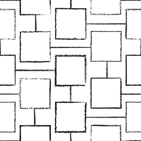 Vector white cells squares seamless black pattern Illusztráció