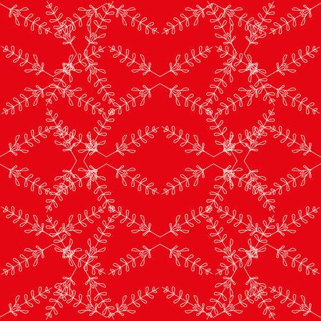Vector red ecru flowers leaves seamless pattern
