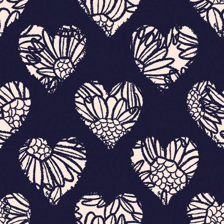 Vector ecru flowers hearts dark seamless pattern Illusztráció