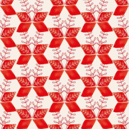 Vector red flowers geometric ecru seamless pattern Stock fotó