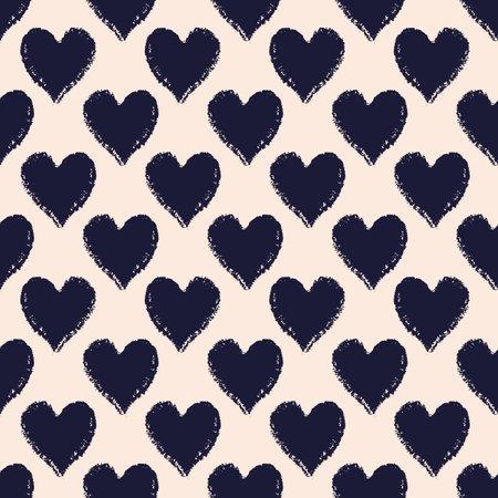 Vector black ecru charcoal hearts seamless pattern 向量圖像