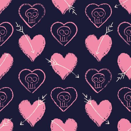Vector pink heart skull arrow seamless pattern dark