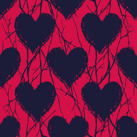 Vector black red hearts branches seamless pattern