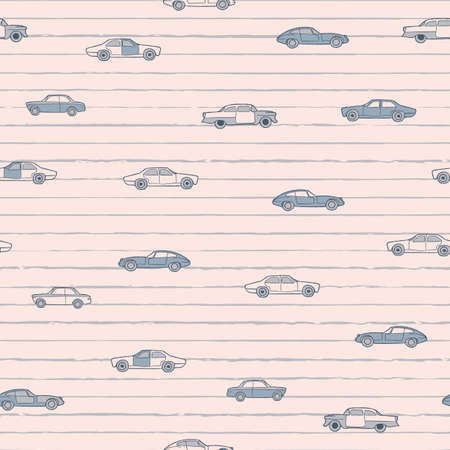 Vector neutral grey cars lines seamless pattern