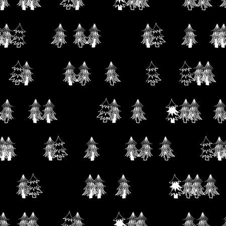 Vector black white pines trees seamless pattern Illusztráció