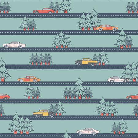 Vector colorful old cars streets seamless pattern Illusztráció