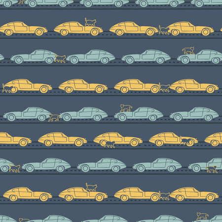 Vector yellow blue old cars, cats seamless pattern Illusztráció