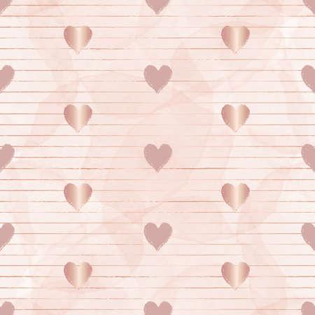Vector rose gold stripes hearts seamless pattern Illusztráció