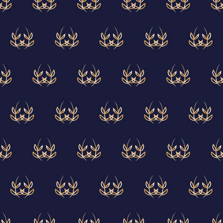 Vector blue gold laurel leaves seamless pattern