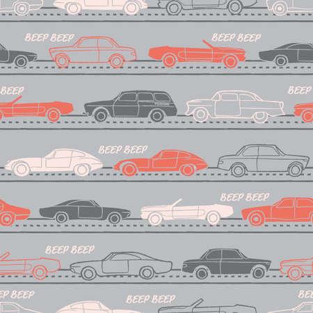 Vector orange grey white vehicles seamless pattern Illusztráció